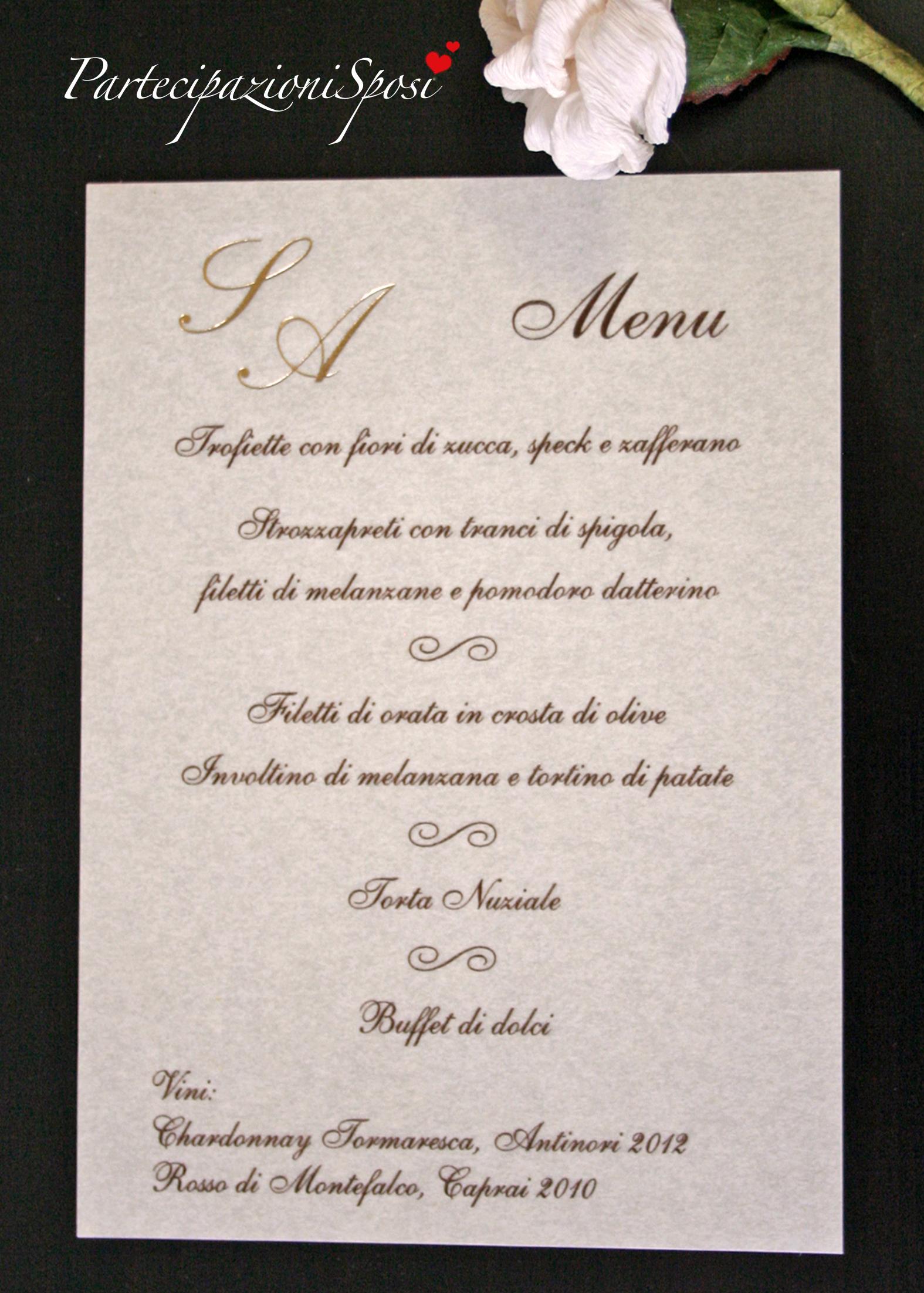 Anniversario Di Matrimonio Menu.Menu In Carta Pergamena Partecipazioni Sposi Stampa