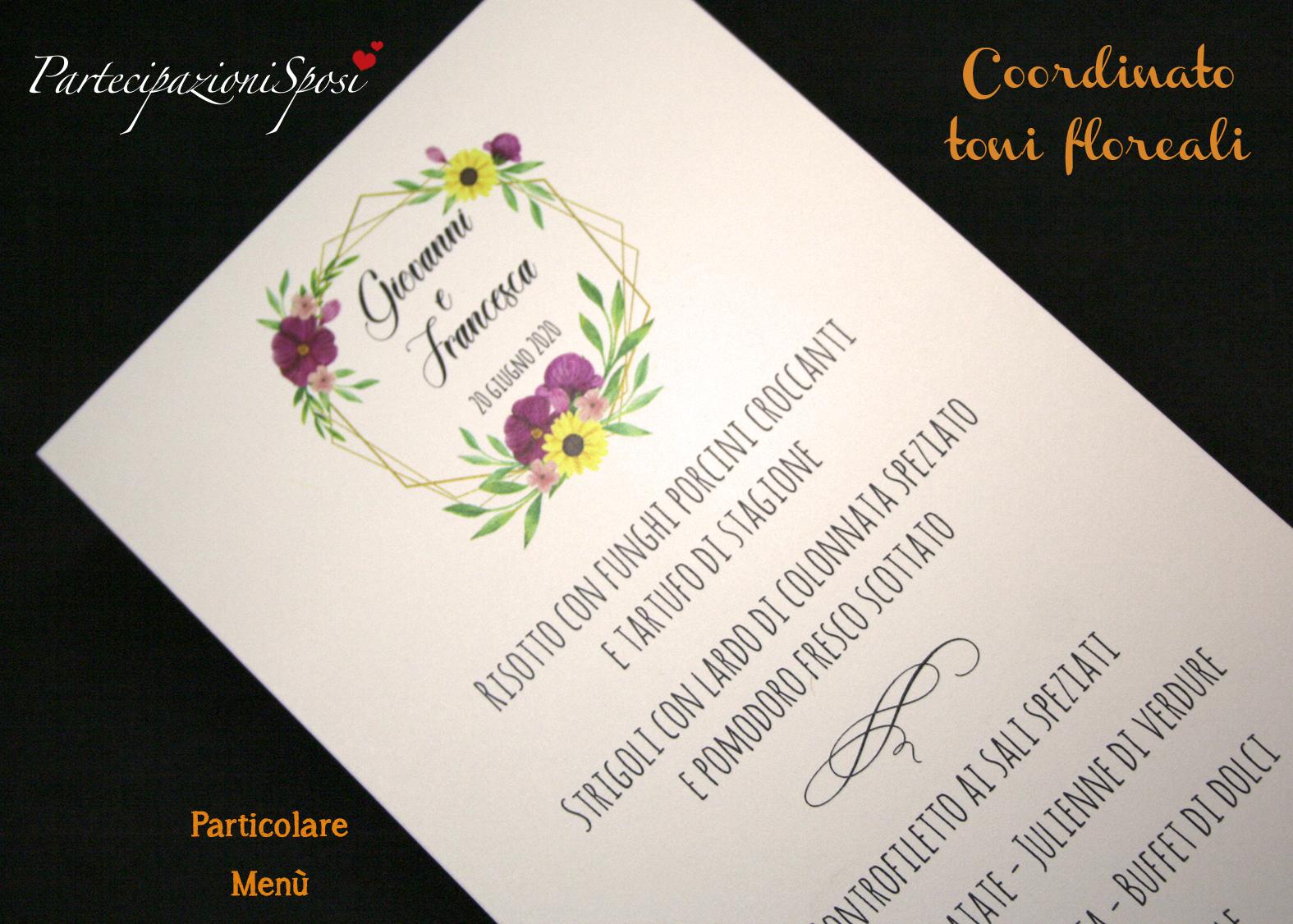 Partecipazioni Matrimonio Gialle.Menu Fiori Viola E Gialli Partecipazioni Sposi Stampa